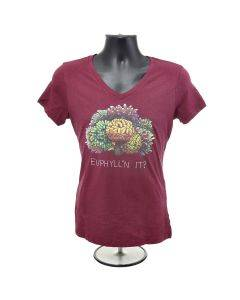 Euphyllin' It? Coral Pun Heather Red Women's V-Neck T-Shirt - Bulk Reef Supply - front view