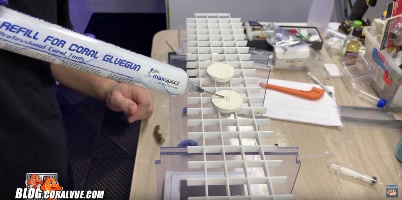 Applying glue to frag plug
