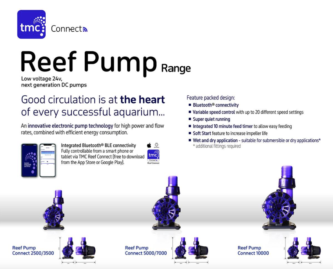 TMC Reef Pump Connect is a Bluetooth controlled return pump