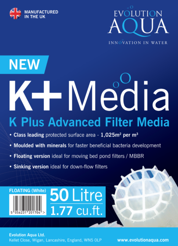 K+ bio-media matures faster due to the unique manufacturing process