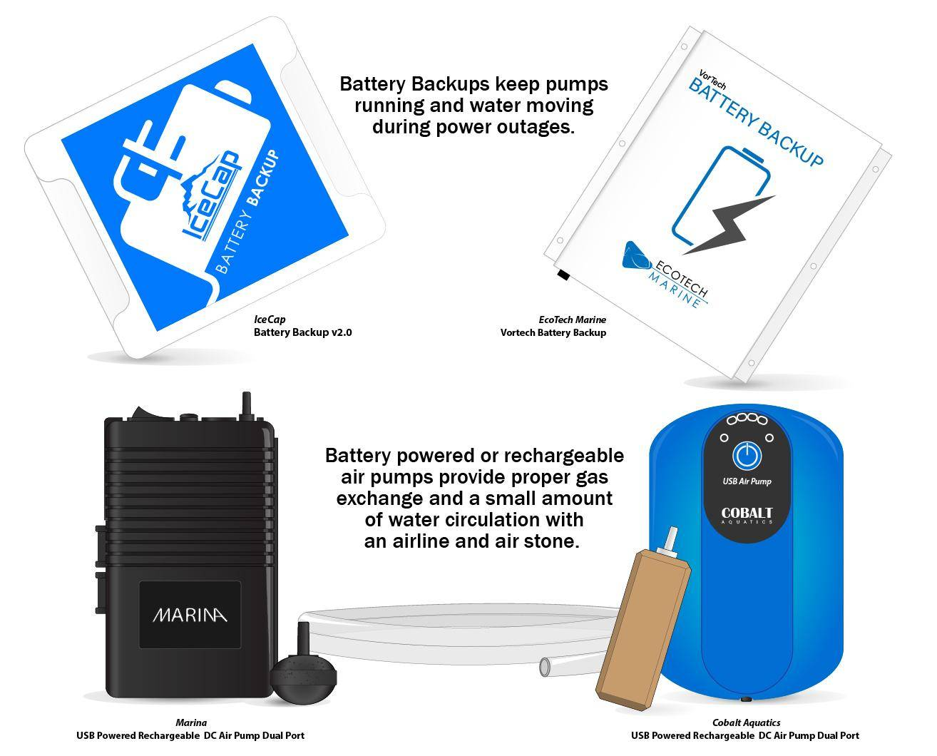 types of backup batteries and battery powered air pumps for aquarium emergencies
