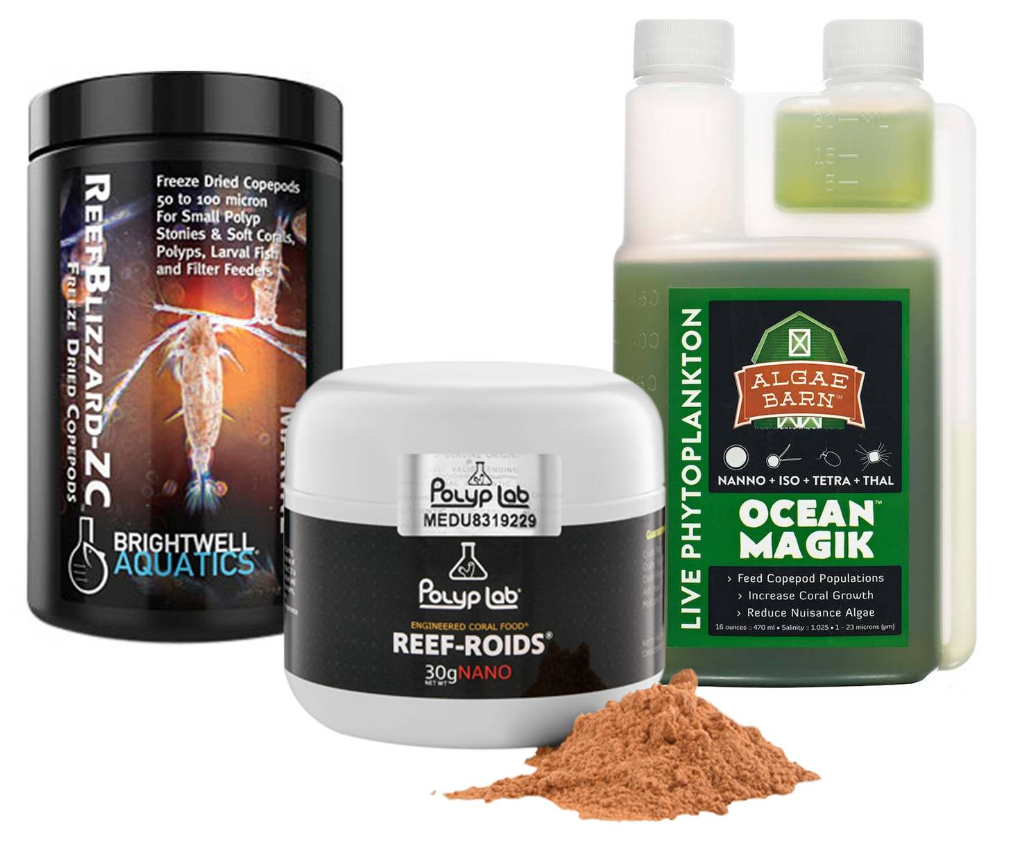 Variety of food to supplement coral nutrition, a 3rd pillar of reef keeping
