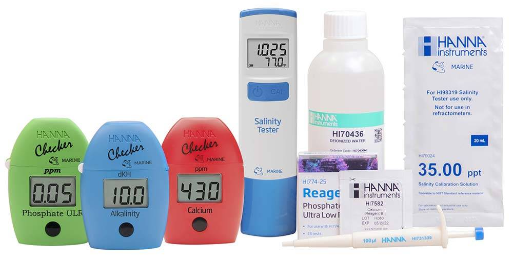 Example of electronic test kits for major elements and salinity