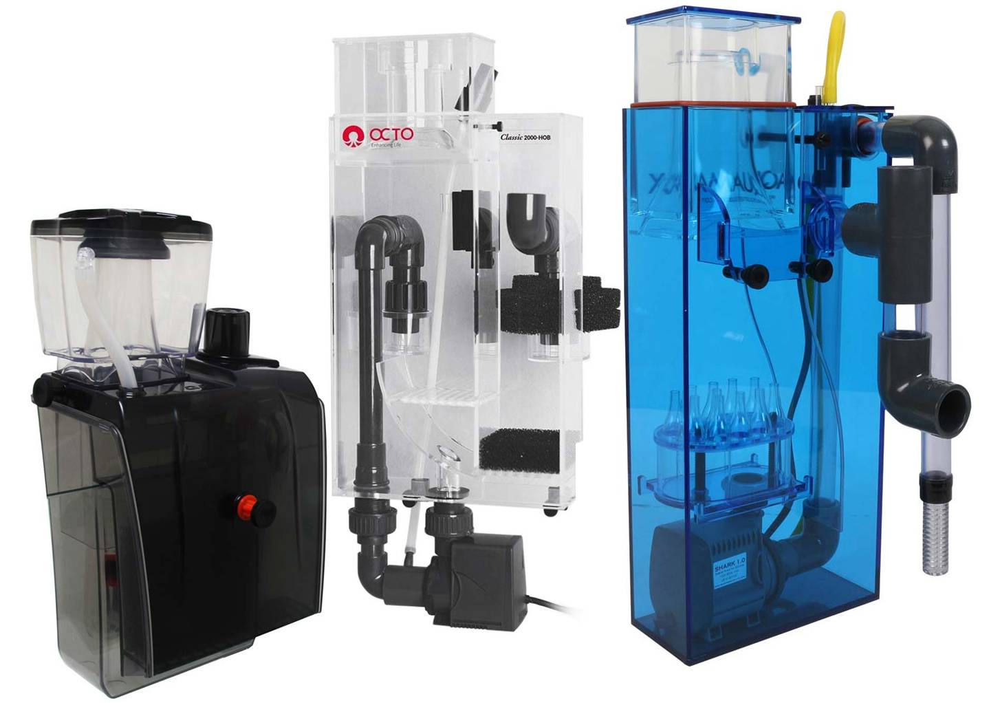 Different models of HOB types of Protein Skimmers