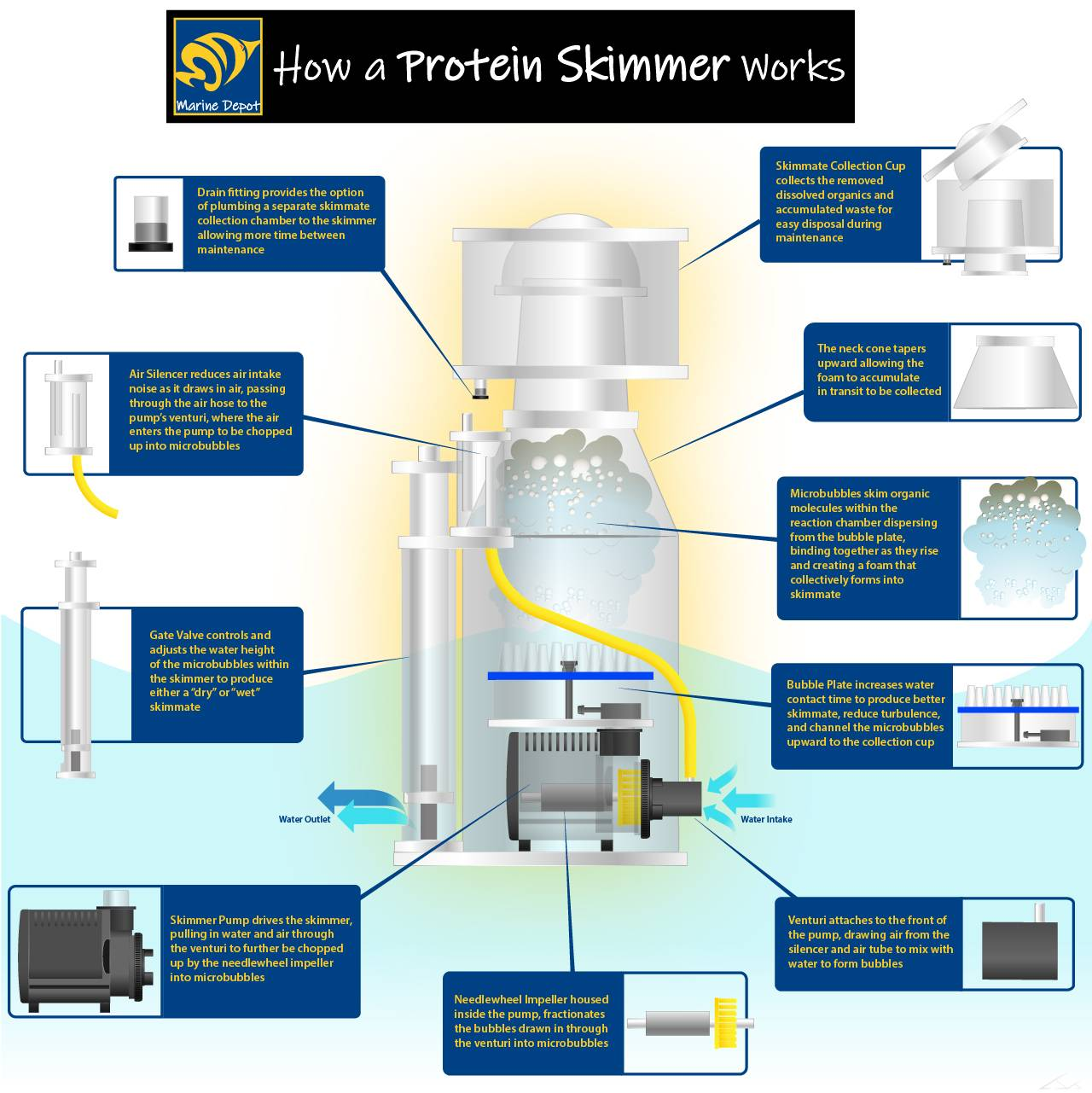 How a protein skimmer works diagram