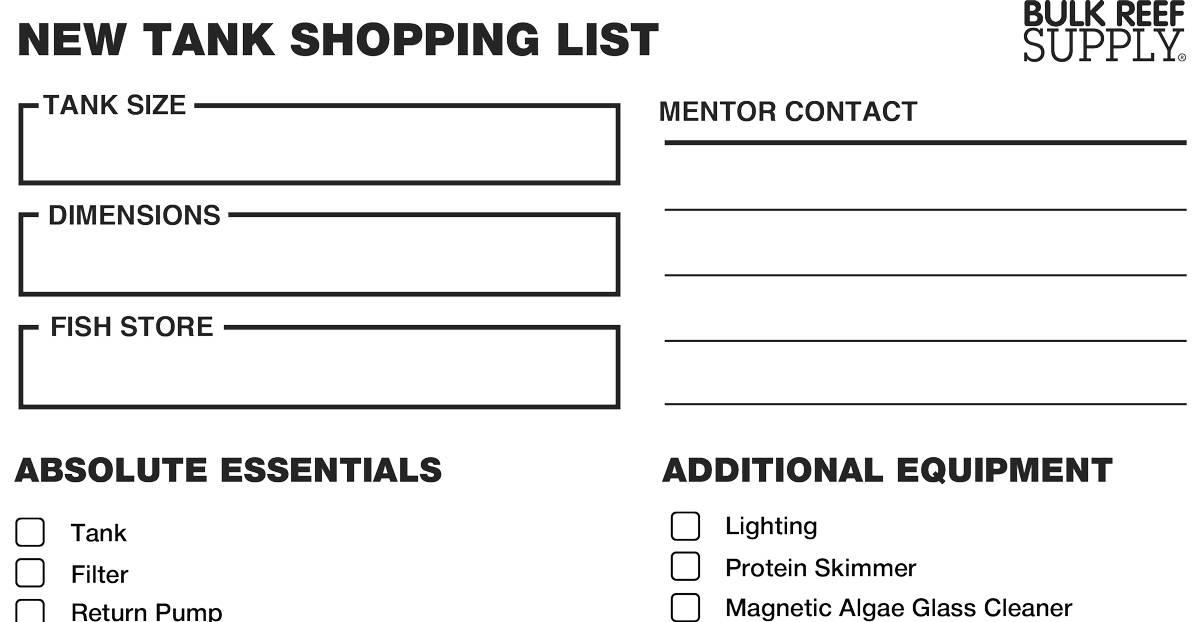 New Aquarium Shopping List